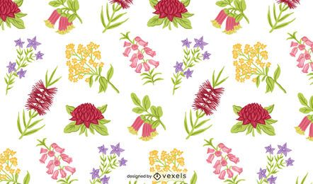 Australian native flowers pattern design