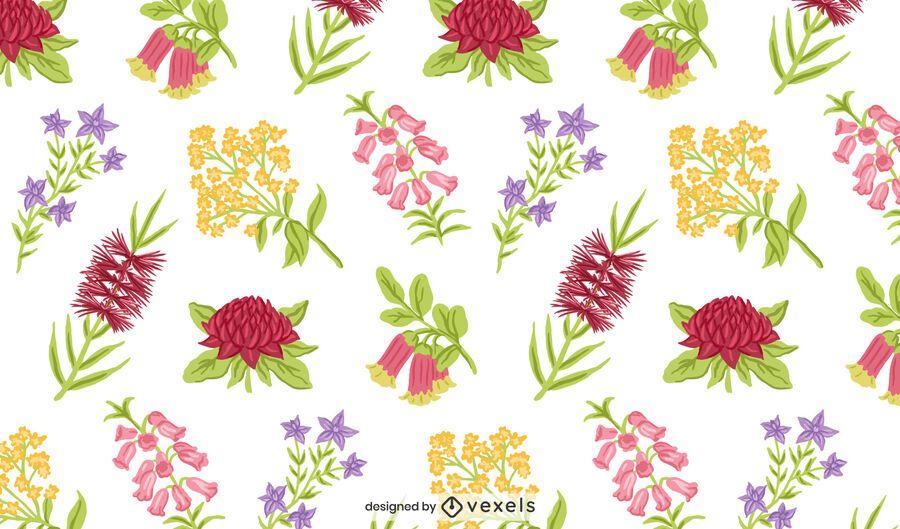 Australian native flowers pattern design