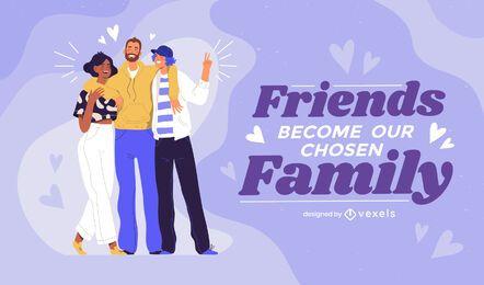 Los amigos se convierten en diseño de ilustración familiar.