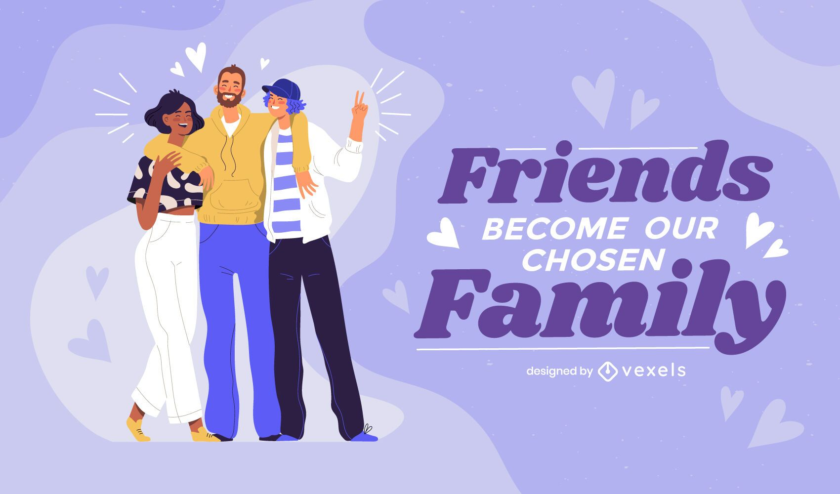 Friends become family illustration design
