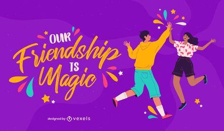 Diseño de ilustración de amistad mágica