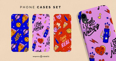 Anti valentines pattern phone cases set