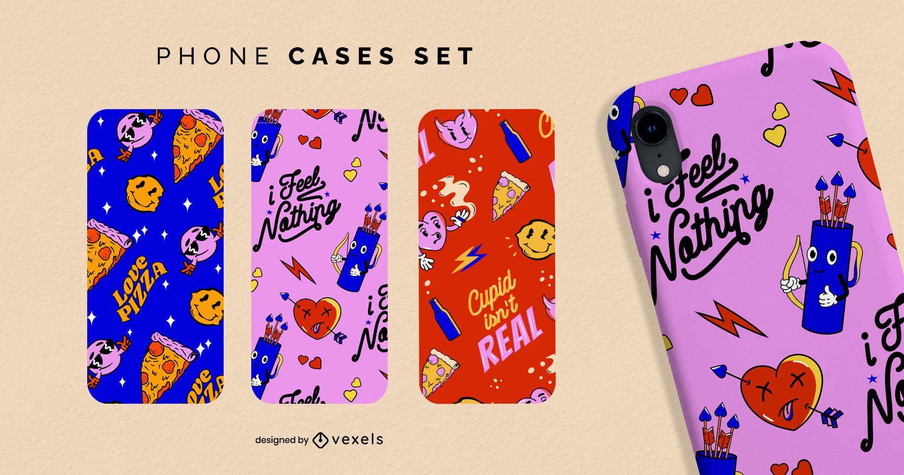 Conjunto de capas de telefone com padrão anti-namorados
