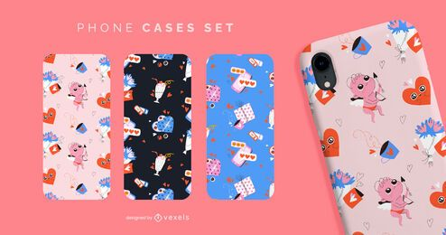 Cute valentines pattern phone cases set
