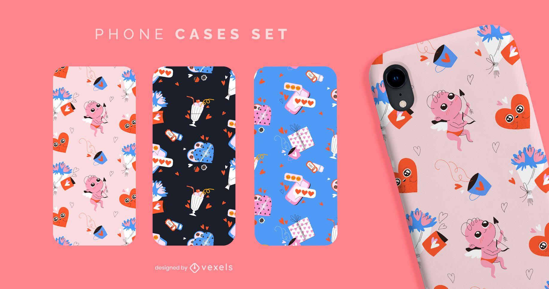 Cute valentines pattern phone cases set