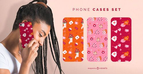 Valentine's pattern phone cases set