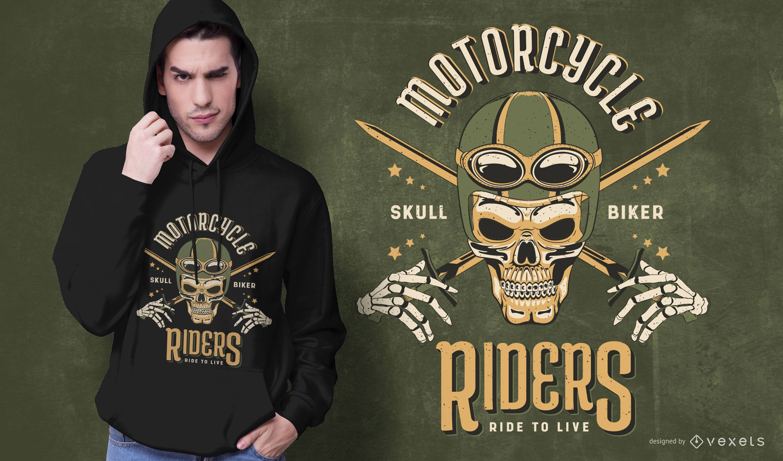 Design de camiseta de motociclista com caveira
