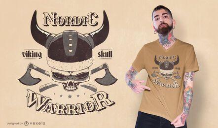 Diseño de camiseta calavera vikinga