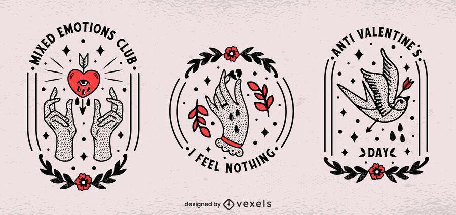 Conjunto de insignias anti san valentín