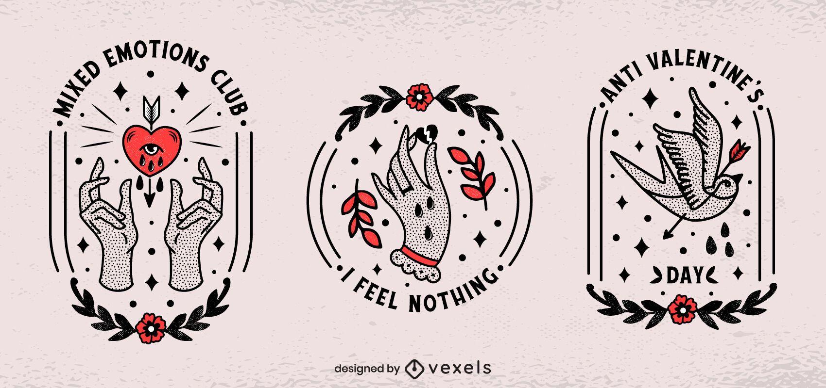 Anti valentine's badges set