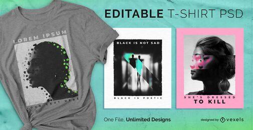 Camiseta escalable duplicada psd