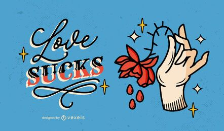 Love sucks anti valentines illustration