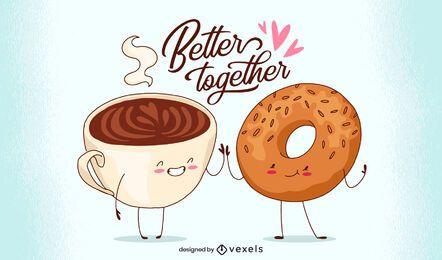 Melhor juntos design de ilustração