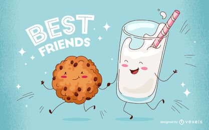 Diseño de ilustración de mejores amigos