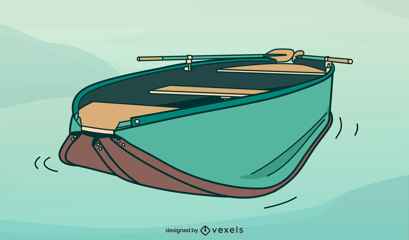 Foalding boat illustration design