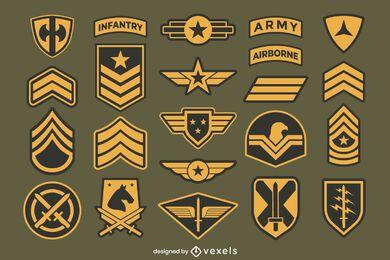 Colección de insignias de parches del ejército