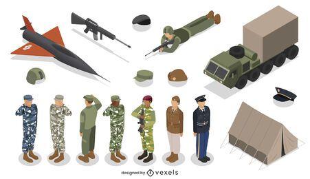Diseño de conjunto de elementos del ejército isométrico