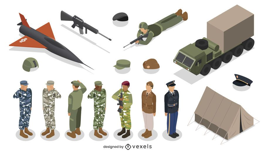 Isometric army element set design