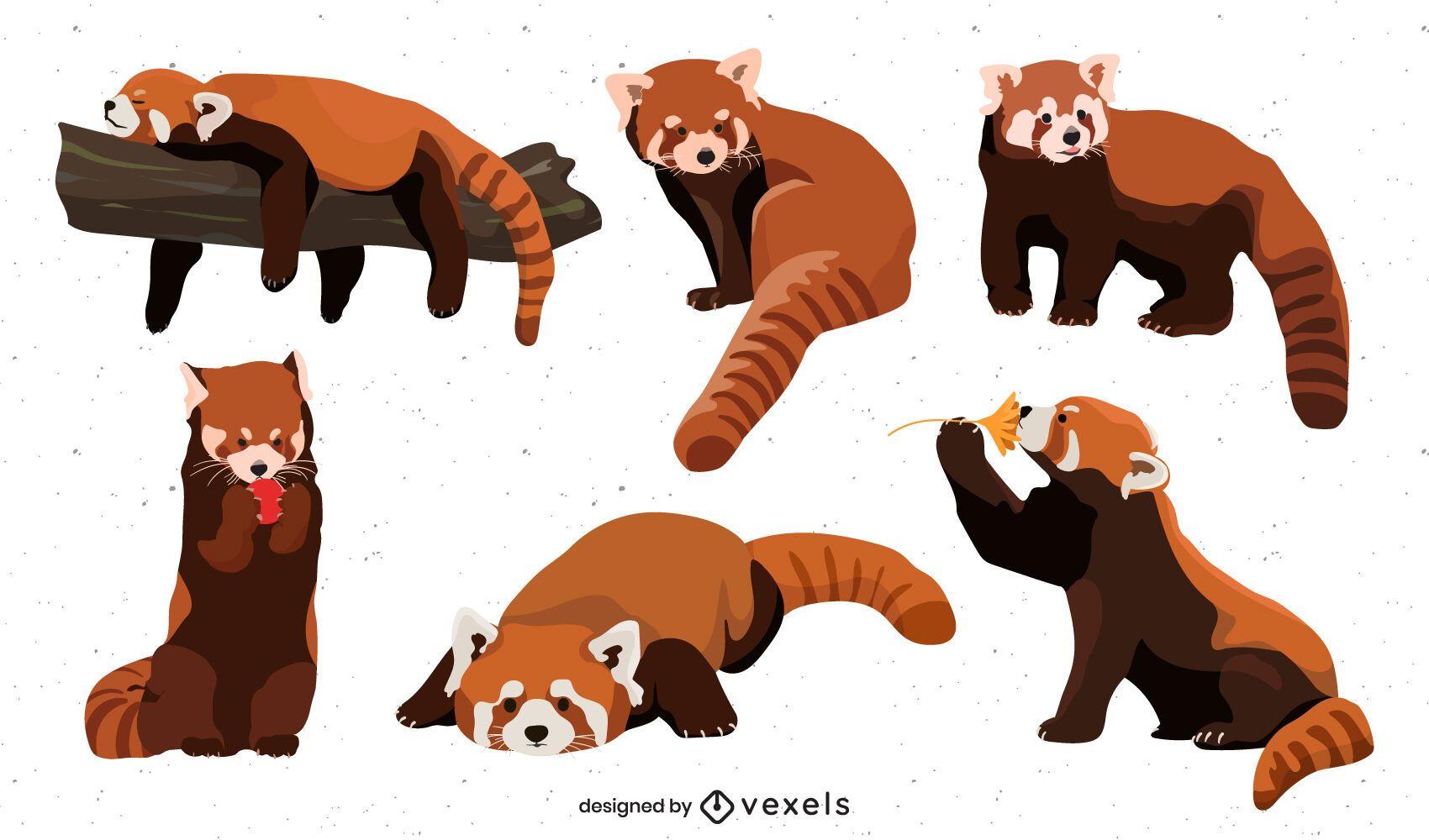 Cute flat red panda set