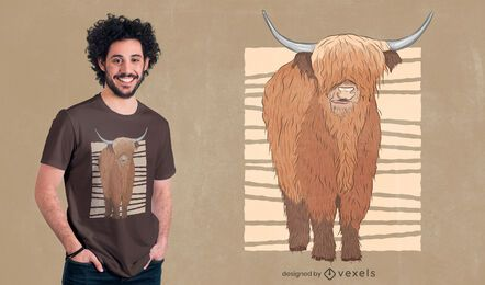 Design de camiseta de vaca das montanhas escocesas