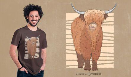 Diseño de camiseta de vaca escocesa de las tierras altas