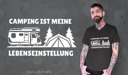 Citação de acampamento design de camiseta alemã