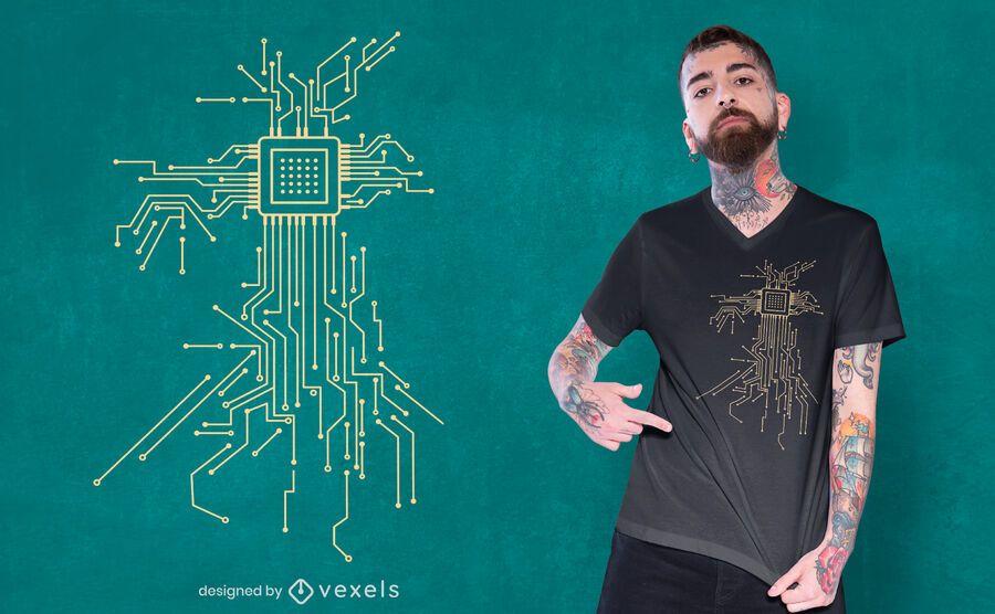 Diseño de camiseta de procesador informático.