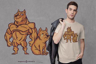 Design de camiseta para cachorro musculoso