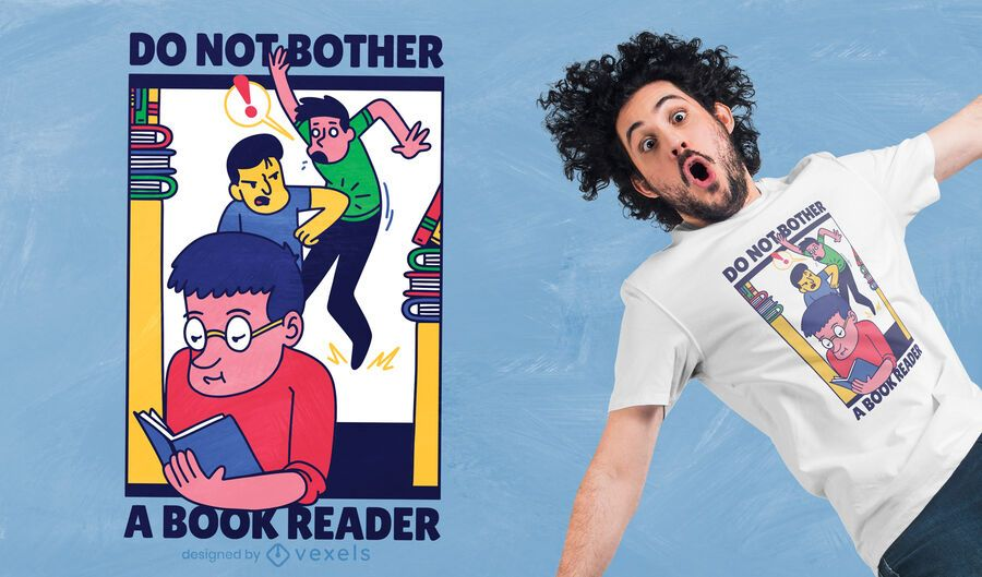 Diseño de camiseta de lector de libros.