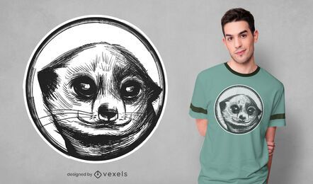 Diseño de camiseta de suricata dibujada a mano