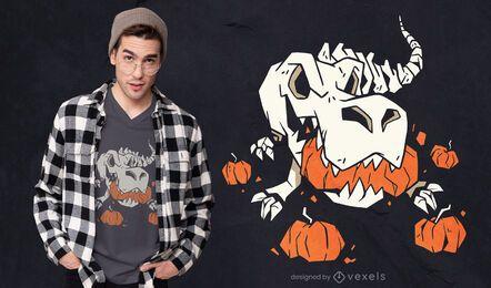 Design de camiseta com abóboras esqueleto T-rex