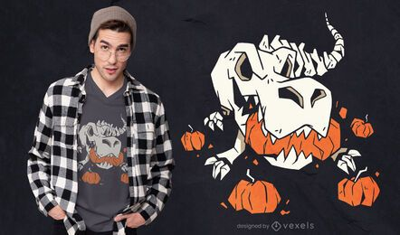 T-rex skeleton pumpkins t-shirt design
