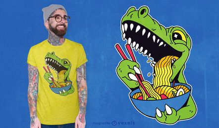 Diseño de camiseta de t-rex comiendo ramen