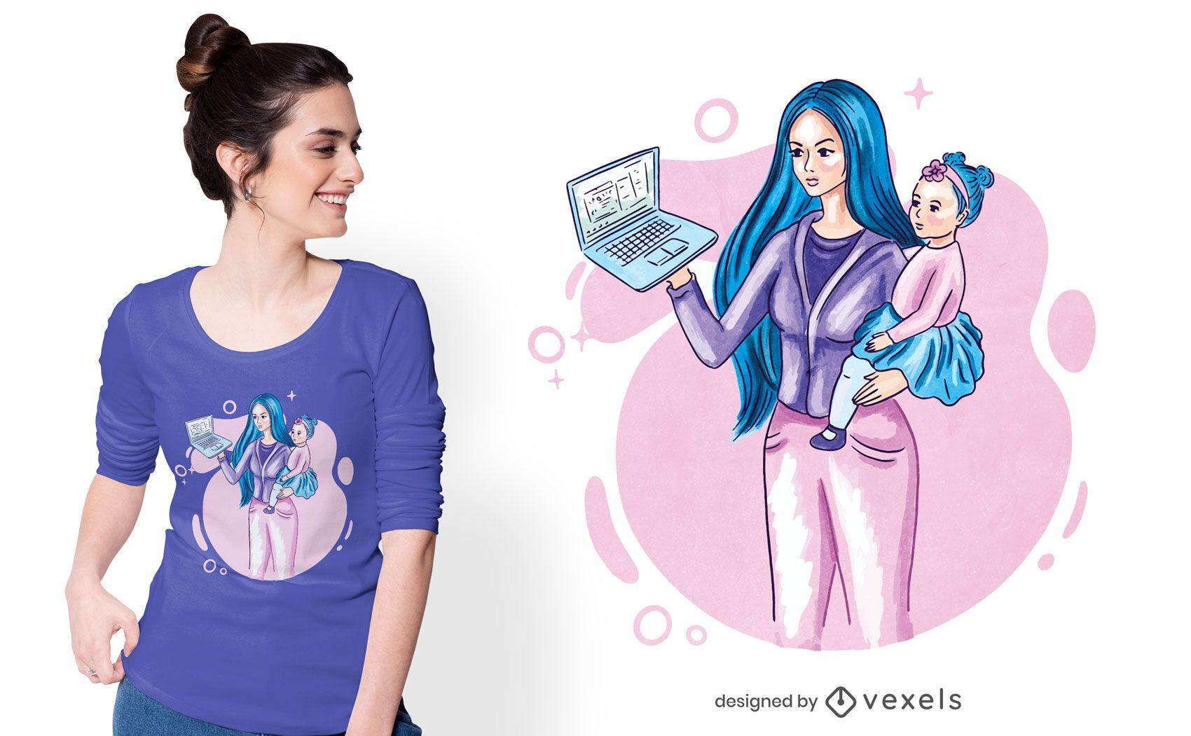 Diseño de camiseta de mamá trabajadora