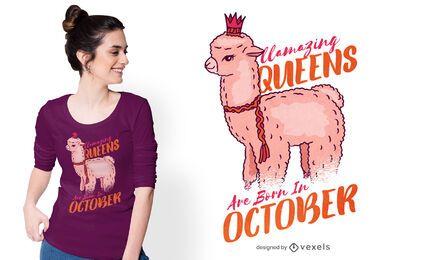 Diseño de camiseta llamazing reinas