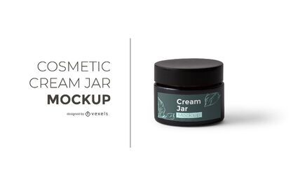 Cosmetic cream jar mockup design