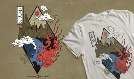 Design de t-shirt com quatro elementos