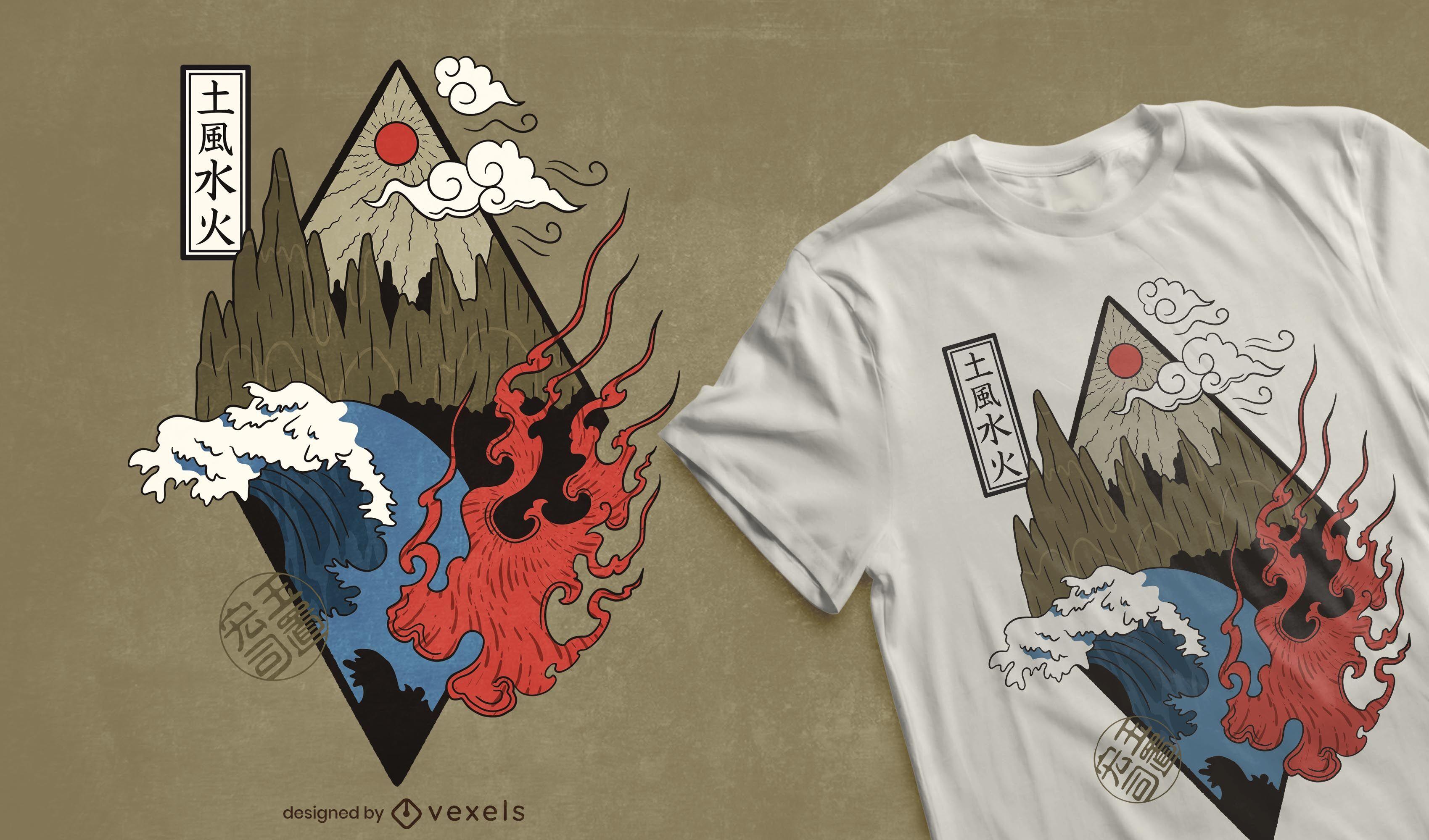Diseño de camiseta de cuatro elementos.