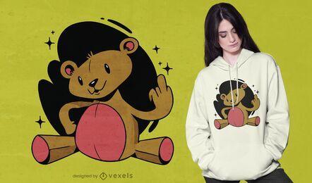 Diseño de camiseta de oso de peluche grosero