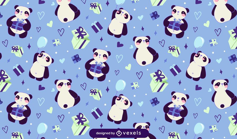 Cute panda presents pattern design
