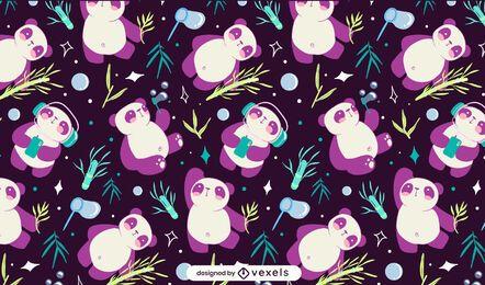 Lindo diseño de patrón de bambú panda