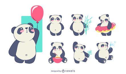 Conjunto de caracteres panda fofo