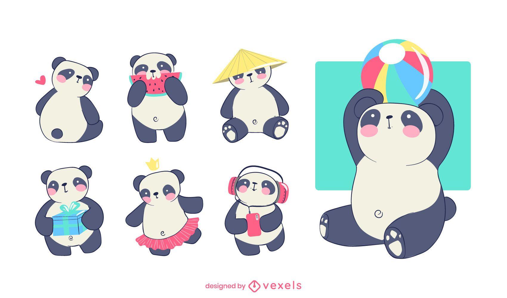 Dise?o de conjunto de personajes de panda lindo