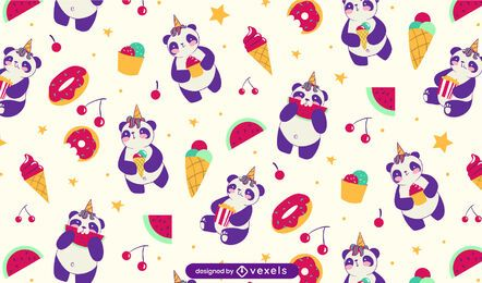 Desenho de padrão de doces de panda fofo