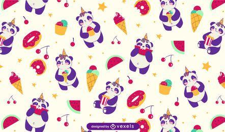 Design de padrão de doces de panda fofos