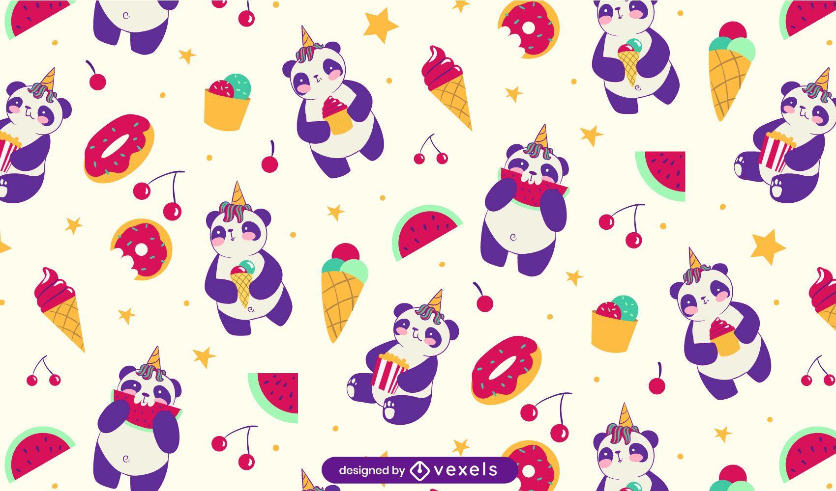 Lindo diseño de patrón de dulces panda