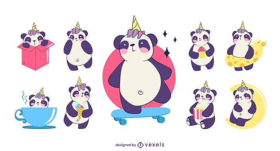Cute panda unicorn character set