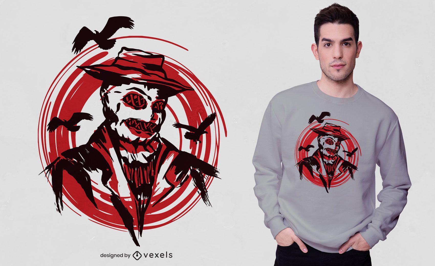 Design de camisetas de espantalho e corvos