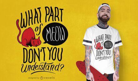 Diseño de camiseta de cita miau