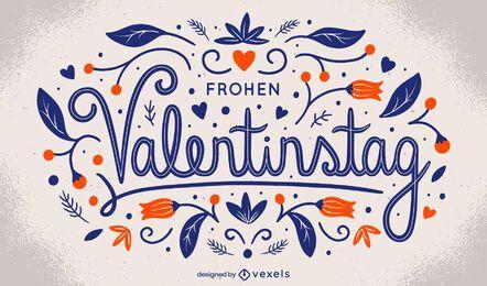 Desenho de letras do dia dos namorados alemão